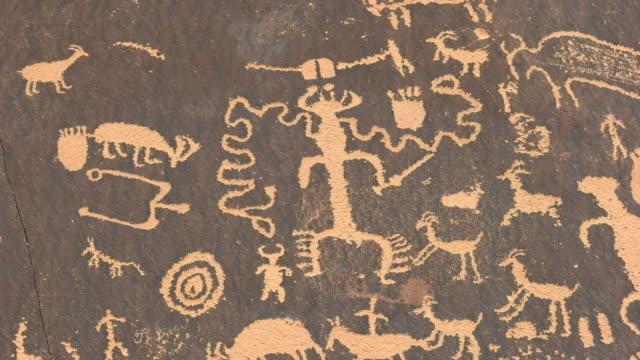 close up of strange american indian art on newspaper rock, utah