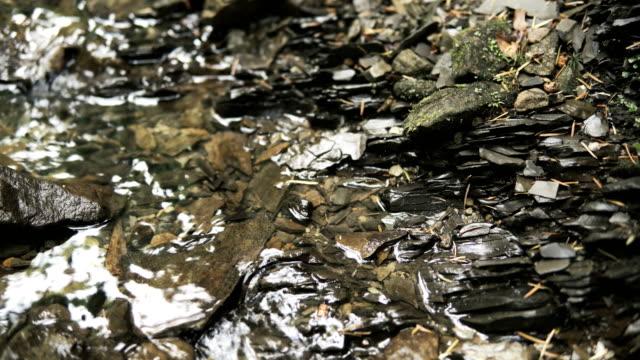 vidéos et rushes de gros plan du ruisseau d'ardoise - ardoise