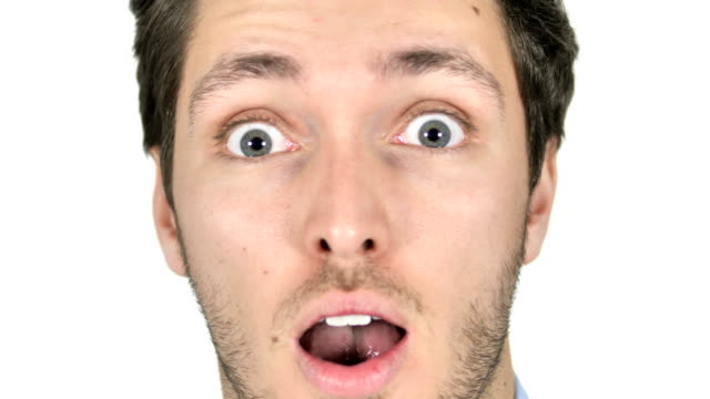 Close Up of Surprised Face of Young Man on White Background