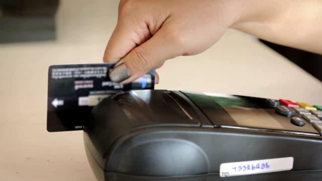 Close up of Swiping A Credit Card,Dolly Shot video