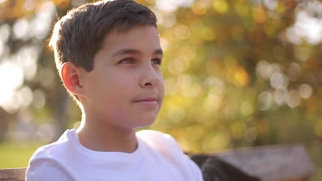 Close up of Teenage boy in white sweater sitting on the bench. Handsome school boy with backpack in autumn park Teenage boy in white sweater sitting on the bench. Handsome school boy with backpack in autumn park. sweatshirt stock videos & royalty-free footage