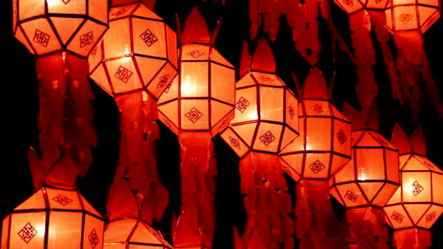 Close up of Thai lanterns in lanterns Festival,Chiang Mai,Thailand video