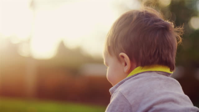 Close up of the back of a little boy's head, sitting outside in golden light video