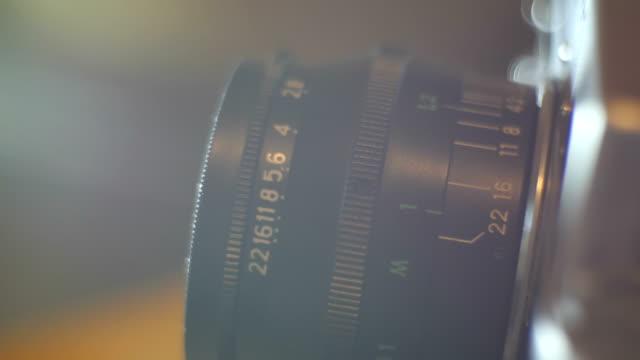 close up of vintage film camera - leva video stock e b–roll