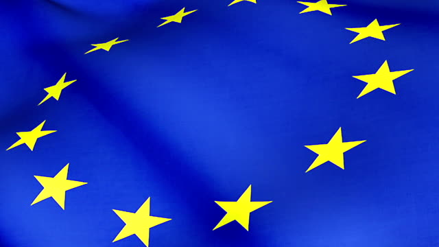 close up of waving flag of european union, yellow star and blue background, eu flag, seamless looping video