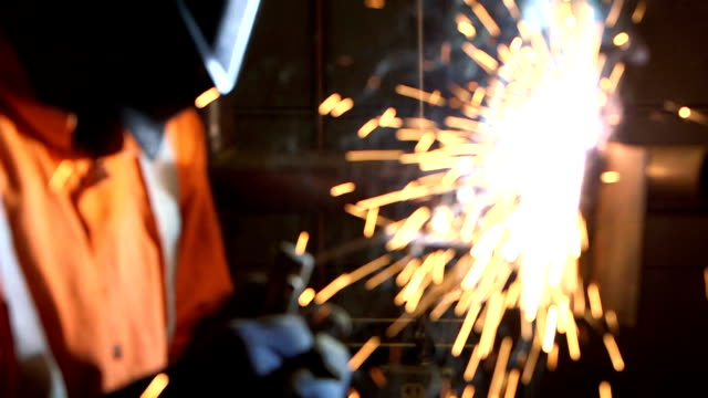 close up of welder working - acciaio video stock e b–roll
