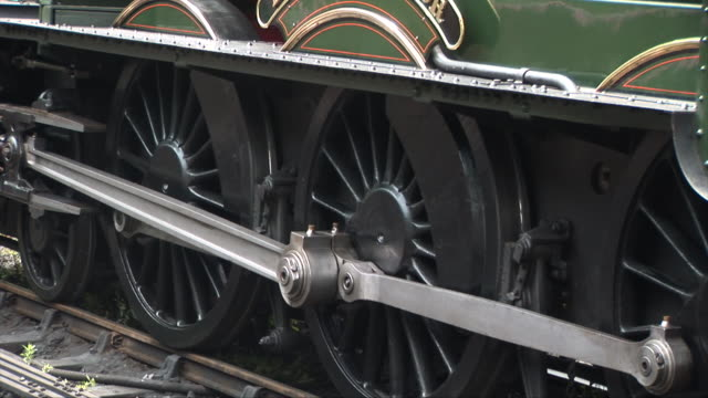 Close up of wheels on track steam train video