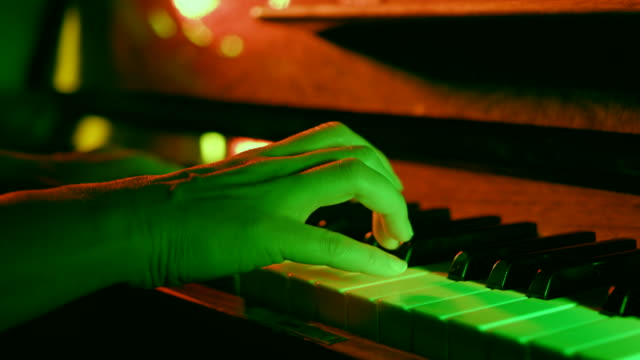 Close up of woman hands classic piano playing
