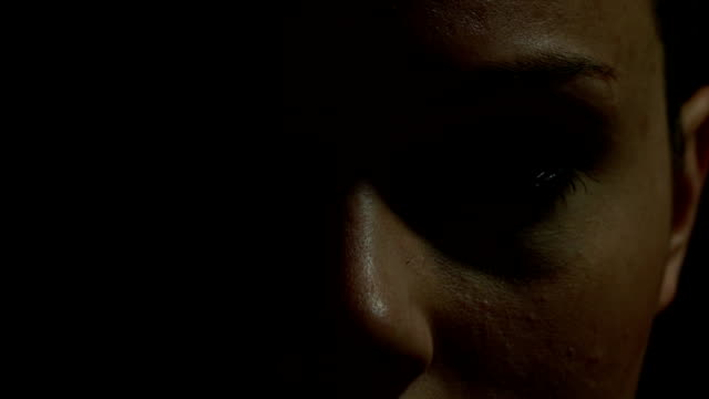 Close up of woman's eyes in color video
