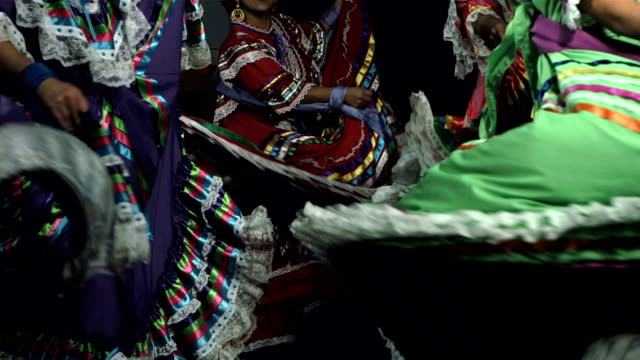 Close Up Of Women Dancing Slow motion shot of women in traditional Mexican dress dancing on black background carnival celebration event stock videos & royalty-free footage