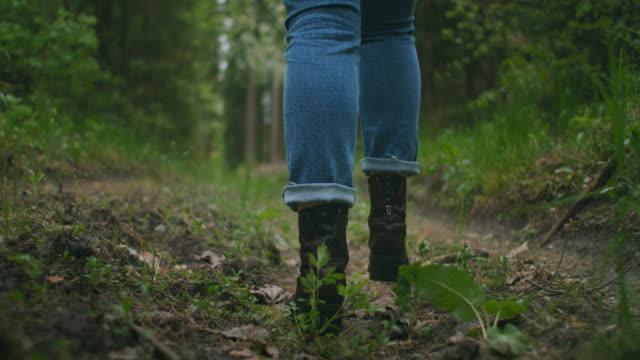 슬로우 모션으로 가파른 지형을 하이킹하는 여성의 다리를 닫습니다. 가을 도로에서 걷는 하이킹 부츠의 발. 가을 야외에서 추적하는 여자 발, 삼림지대를 걷고 - 낮음 스톡 비디오 및 b-롤 화면
