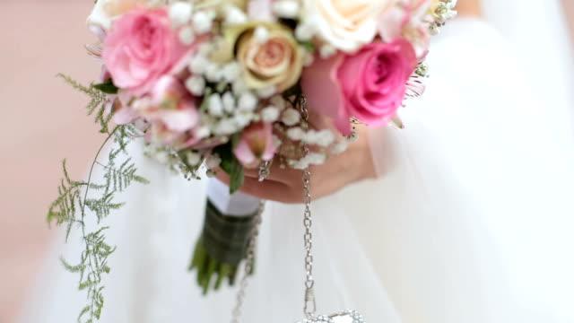 Close up on Bride wedding details video