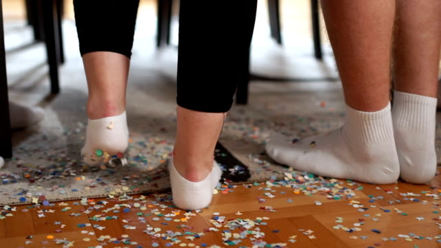 Close up on colorful floor after party full of confetti video