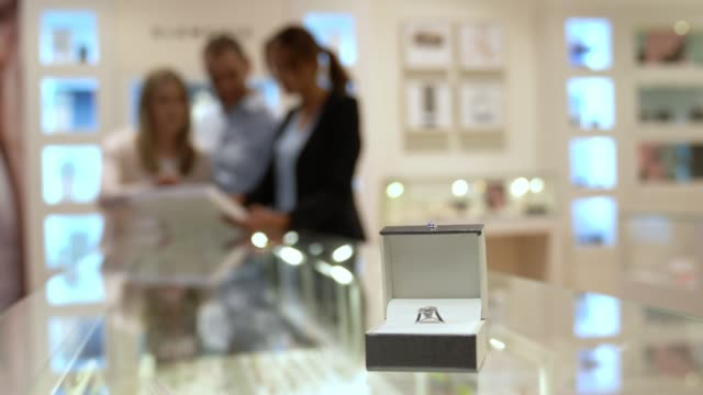 Close up on engagement ring at a jewellery shop