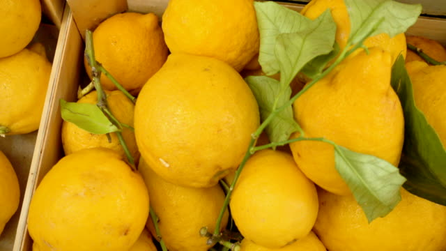 close up on fresh and yellow lemons at the market - лимон стоковые видео и кадры b-roll