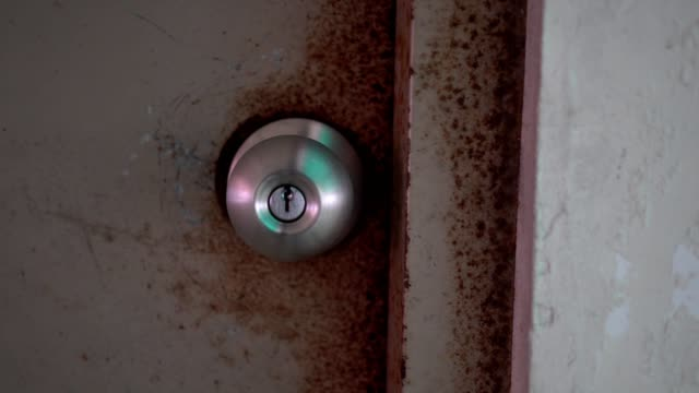 Close up on metal doorknob. The look is old.