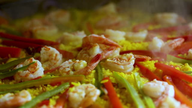 Close up on paella spanish traditional food Valencia
