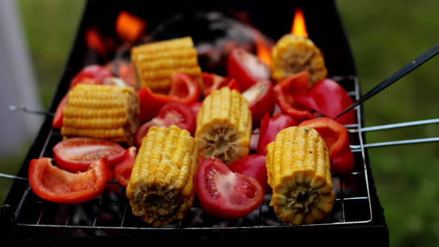Close up on vegetable kebabs cooking on a bbq video