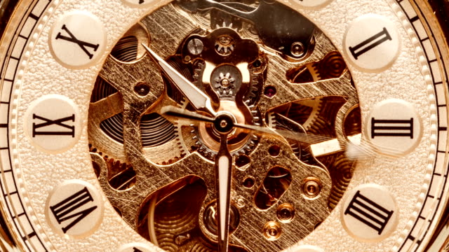 Close up on vintage clock Antique clock dial close-up. Vintage pocket watch. instrument of time stock videos & royalty-free footage