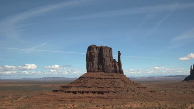 close up pan of the mittens in monument valley