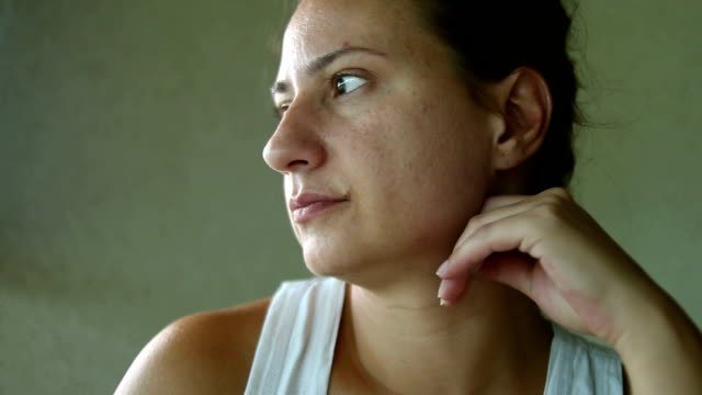 Close up pensive woman looking away video