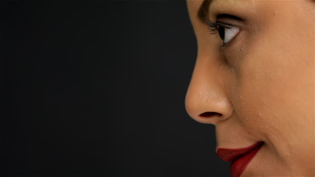 Close up portrait of a girl in profile video