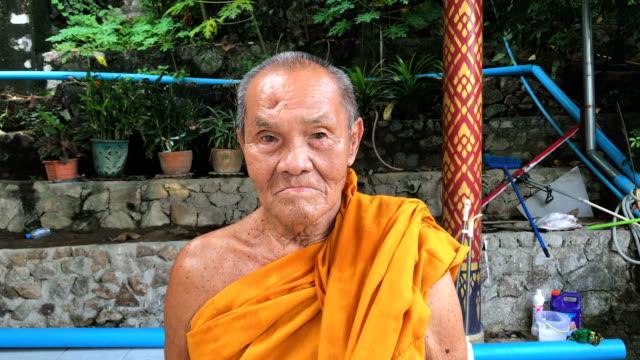 Close up Portrait Of Buddhist Monk video