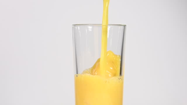 Close up pouring orange juice in glass over white