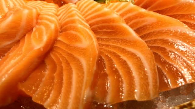 Close up Salmon Sashimi video