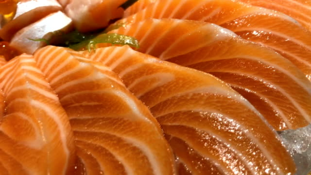 Close up Salmon Sashimi Close up Salmon Sashimi.This video was shot with mobile. 1280x720 sashimi stock videos & royalty-free footage
