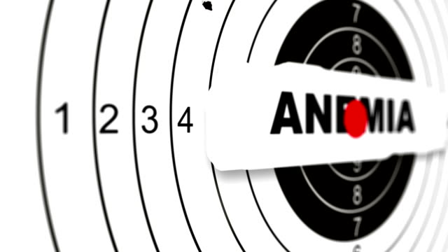 close up shooting target with word anemia - target australia stock videos & royalty-free footage