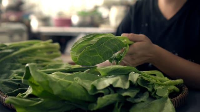nahaufnahme schuss kochen mit gemüse - grünkohl stock-videos und b-roll-filmmaterial