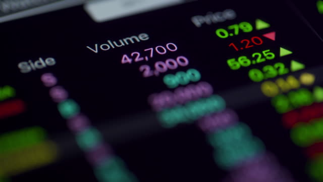 Close up shot data value of stock market change and volatility prices
