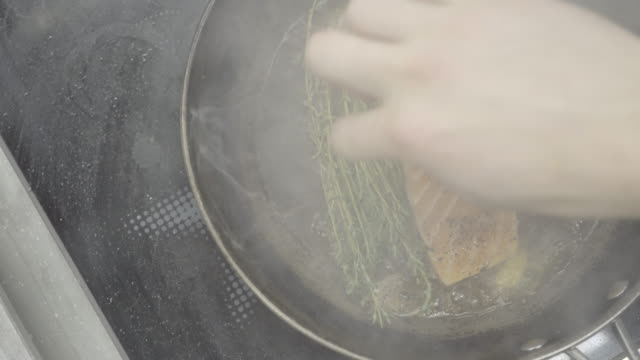 Close up shot of a salmon filet being pan seared Details of food being prepared in a professional kitchen fillet stock videos & royalty-free footage