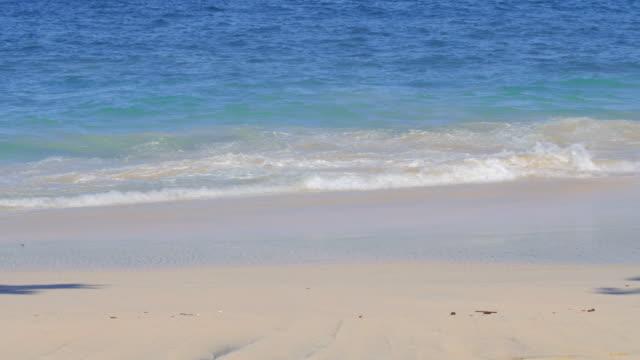 vídeos y material grabado en eventos de stock de de cerca de una arena en la playa tropical con grandes olas azules - borde del agua