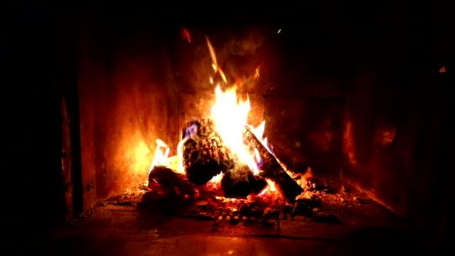 vídeos de stock e filmes b-roll de close up shot of burning firewood in fireplace - burned oven