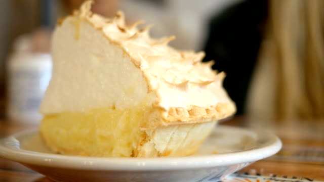 Close up shot of delicious coconut cream pie in a diner video
