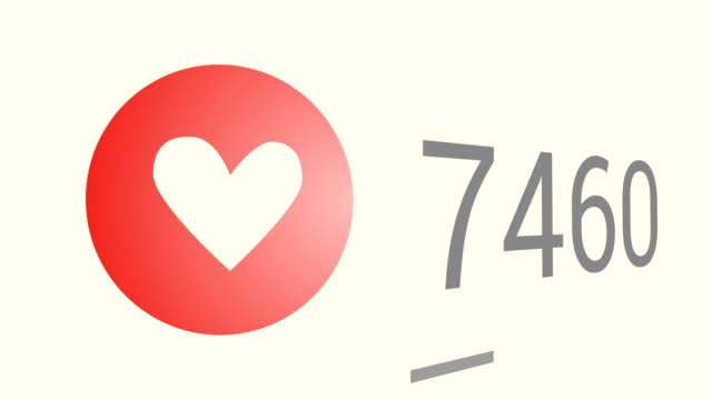 クローズ アップのショット 3 万ビュー、赤ハート (愛) のアイコンに急速に高まっているが好き。 - ブランディング点の映像素材/bロール