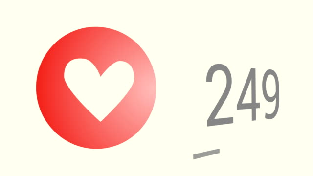 Close up shot of likes quickly increasing to one thousand views, red heart (love) icon.