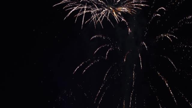 крупным планом выстрел ярких и красочных фейерверков с высоким контрастом - новый год - национальный день - день независимости - торжества - uae national day стоковые видео и кадры b-roll
