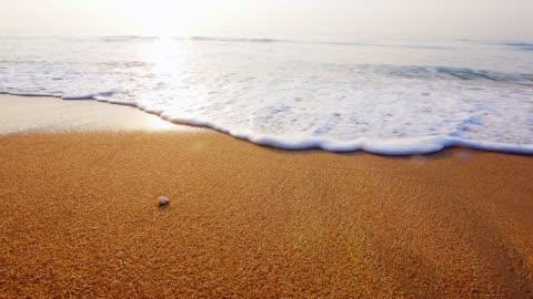 vídeos y material grabado en eventos de stock de close up disparo de olas rodando encima de playa de arena blanca - playa