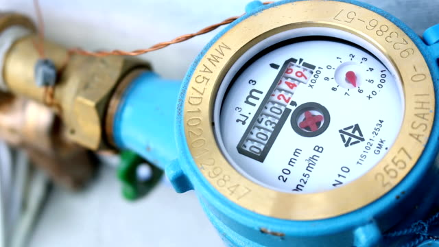 Close up shot water meter, The counter water consumption video