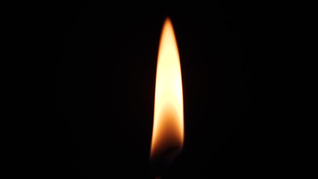 Close up single candle flame