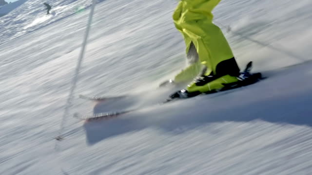 close up skiing in short swings video