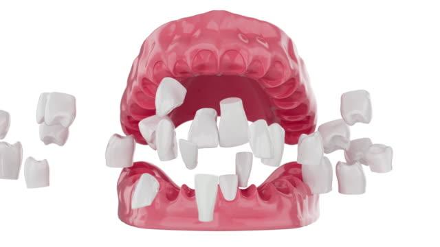 vídeos y material grabado en eventos de stock de cierra los dientes de explosión a cámara lenta en la boca. enfoque selectivo. animación 3d. 4k - porcelana china