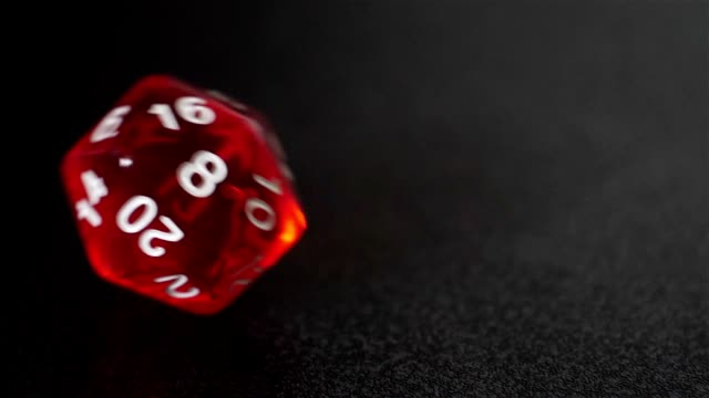 close up slow motion red dice roll, d20 luck concept - dragon stock videos and b-roll footage