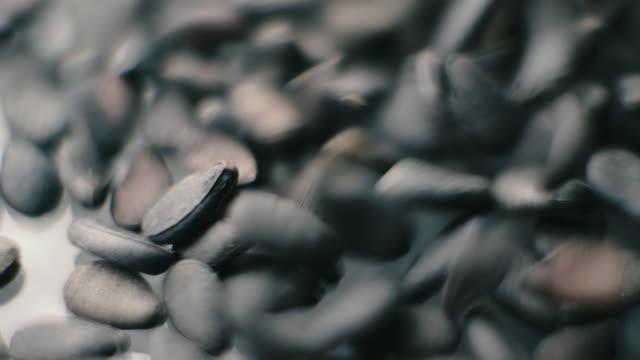 Close up slow motion shot of Black sesame seeds healthy grain