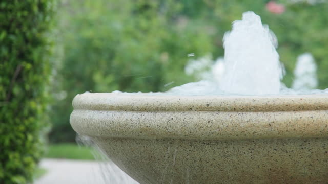 close up slow motion water fountain.