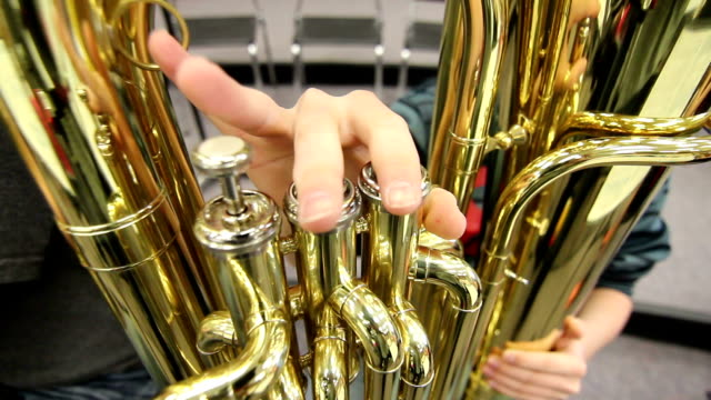 Close Up Student Playing Tuba video