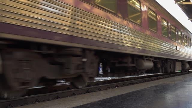 Close up Suspension and wheels of the train at Hua Lamphong Station bangkok thailand.
